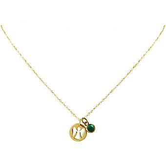 Anioł Stróż - 925 Silver - pozłacany damski - Naszyjnik - Naszyjniki - Anioł--szmaragdowo - zielony - 1,3 cm