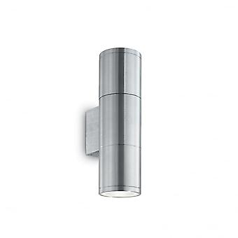 Ideal Lux Gun utomhus dubbel tvåbädds Aluminium upp ner vägg ljus