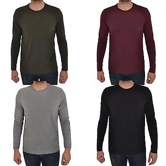 Brave Soul Mens Long Sleeve T-Shirt Plain Crew Neck Casual Top