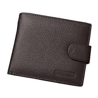 Läder plånbok mäns bruna knappen pengar Cash plånbok ID