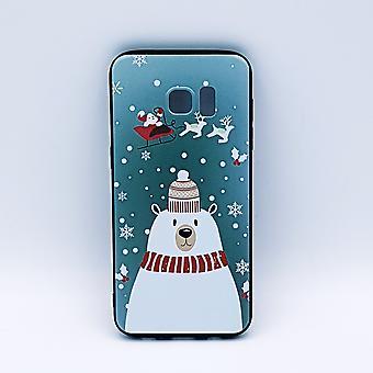 Samsung S7 Edge pouch-Noël-polar bear avec chapeau