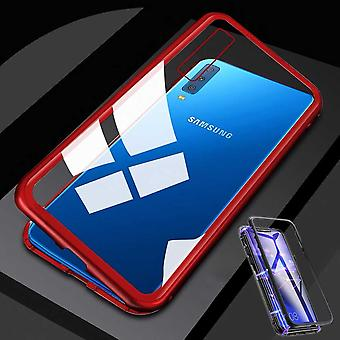For Samsung Galaxy A7 A750F 2018 magnet / metal / glass case bumper transparent / red case cover new