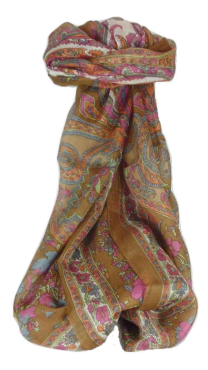 Mulberry Silk Traditional Long Scarf Dhar Caramel by Pashmina & Silk