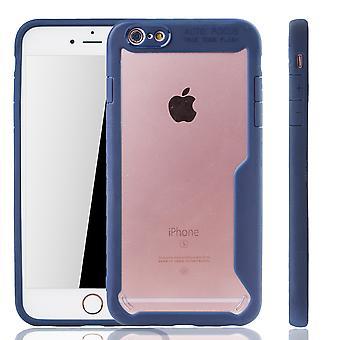 Blaue Premium Apple iPhone 6 / iPhone 6s Hybrid-Editon Hülle | Unterstützt Kabelloses Laden | aus edlem Acryl mit weichem Silikonrand Blau
