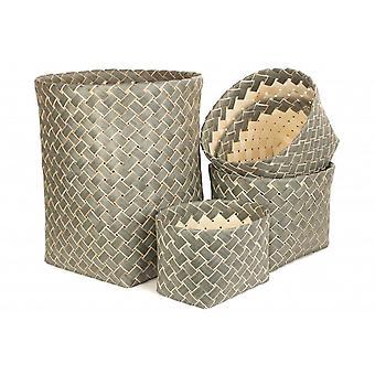 Set di 5 cestino di immagazzinaggio di pioppo grigio