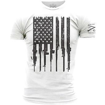 Grunt Style Rifle Flag Crewneck T-Shirt - White