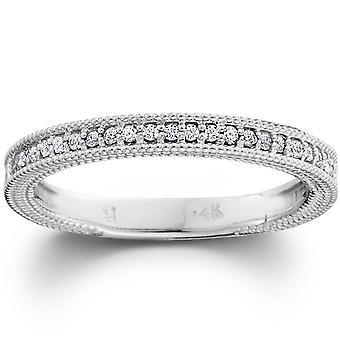 Diamant vigselring 1/5ctw Womens stapelbar Diamond Band 10k vitt guld