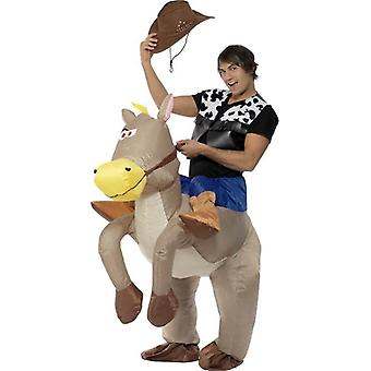 Ratsastaa Em Cowboy puhallettava puku.  Yksi koko
