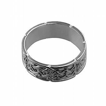9 قيراط الذهب الأبيض 8 مم سلتيك خاتم الزواج حجم Z + 1