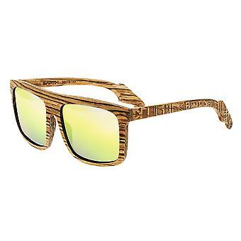 Earth Wood Aroa Polarized Sunglasses - Zebrawood/Gold-Black