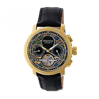 Heritor Automatic Aura Men's Semi-Skeleton Leather-Band Watch - Gold /Black