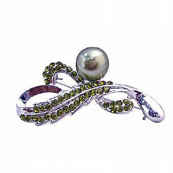 Olivine Crystals Brooch Green Pearls Silver Framed Bridesmaid Brooch