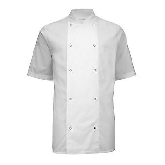 Alexandra Mens Short Sleeve Stud Chefs Jacket (Pack of 2)