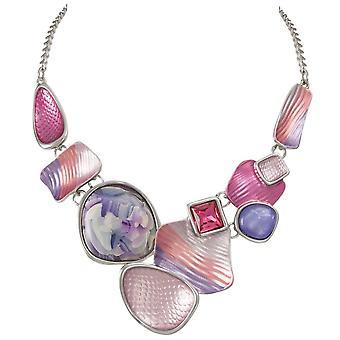Eternal Collection Cavalcade Purple Multi Enamel Silver Tone Statement Necklace