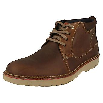 Mens Clarks Casual Lace Up laarzen Vargo medio