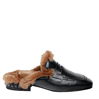 Ash EMOTION Slip On Loafers Black Leather & Faux Fur