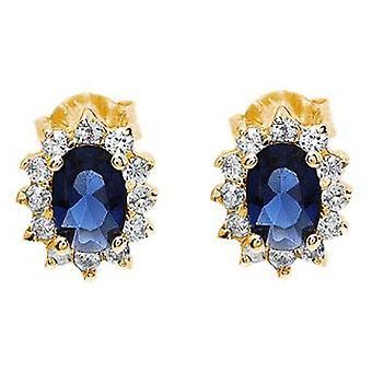 Ah! Jewellery Genuine Sapphire Crystals From Swarovski Oval Stud Earrings