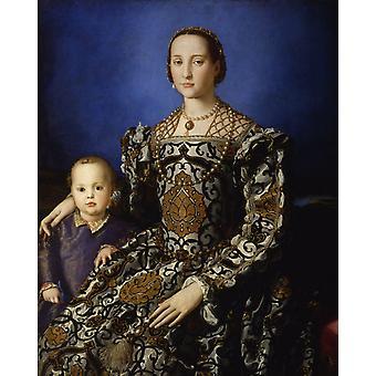 صوره من اليونورا دا توليدو معها ، انيولو برونزينو ، 50x40cm