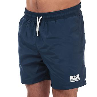 Mens Weekend Offender Barios Swim Shorts In Navy- Ribbed Waistband- Pockets To