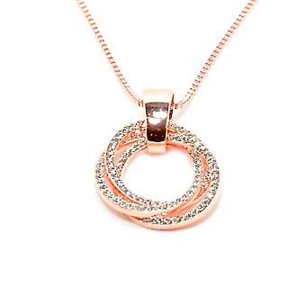 VIP Rose Gold Plated Crystal Set Triple Circle Pendant And Chain