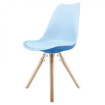 Fusion Living Eiffel Inspiré Blue Plastic Dining Chair with Pyramid Light Wood Legs