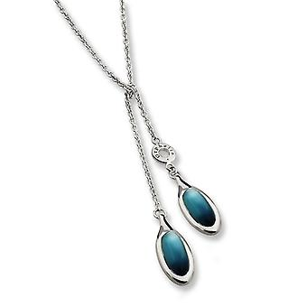 NECKLACE 925 SILVER WITH  CATEYE BLUE