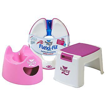 Pourty Toilet Training Pink Combo Bundle - Potty, Flexi-fit Toilet Seat & Step