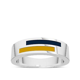 University Of Notre Dame Sterling Silver Asymmetric Enamel Ring In Blue and Yellow