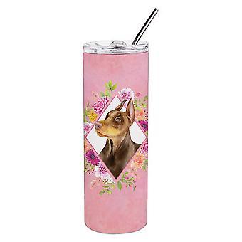 Доберман Пинчер Розовые Цветы Двойная Стена Нержавеющая Сталь 20 унций Тощий Тумблер