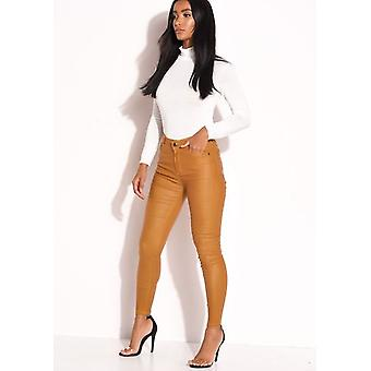 PU Faux Leather High Waisted Stretch Skinny Jeans Mustard Yellow