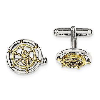 925 Sterling Silver Solid Textured Polished Gold tone Sailor Wheel Cuff Links Jewelry Gifts for Men