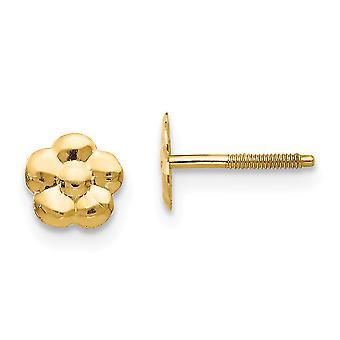 14k זהב צהוב מלוטש פרח הפוסט עגילים מידות 6x6mm תכשיטים מתנות לנשים-.3 גרם