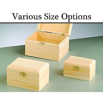 Choice of Routered Lidded Wooden Boxes with Clasps to Decorate for Crafts