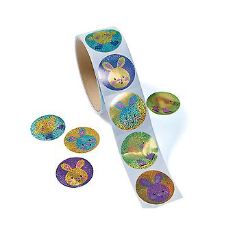 Roll of 100 Prismatic Easter Bunny & Chick Stickers for Kids Crafts