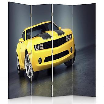 Raumteiler, 4 Paneele, Doppelseitig, 360 ° Drehbar, Leinwand, Gelbes Auto
