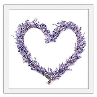 Picture In White Frame, Lavender Heart