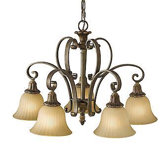 Kelham Hall bas cinq lustre lumière - Elstead éclairage Fe / Kelhall DN5LT