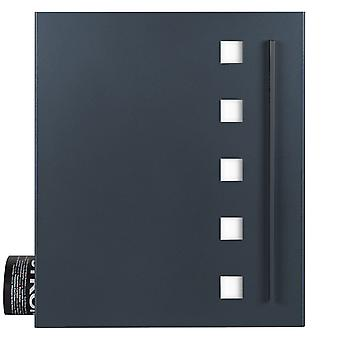 MOCAVI Box 120 Letterbox with newspaper compartment anthracite grey (RAL 7016) with stainless steel design