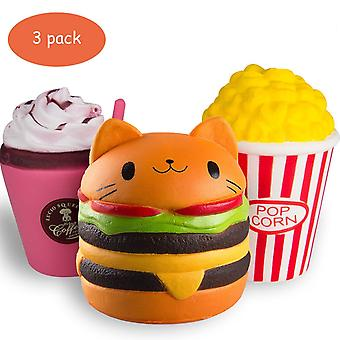 Squishies Pack Jumbo Slow Rising And Scented Toys; Cat Burger Coffee Cup Popcorn For Kids And Adults