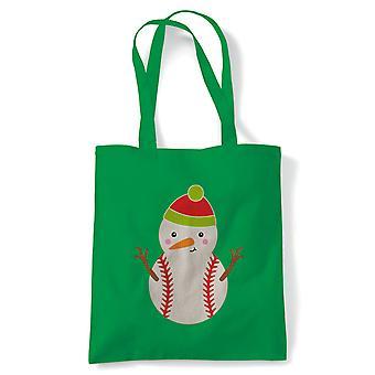 Baseball Snowman Tote | Christmas Xmas HoHoHo Season Greetings Merry | Reusable Shopping Cotton Canvas Long Handled Natural Shopper Eco-Friendly Fashion