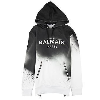 Balmain Граффити-эффект с капюшоном Sweatshirt черный / белый