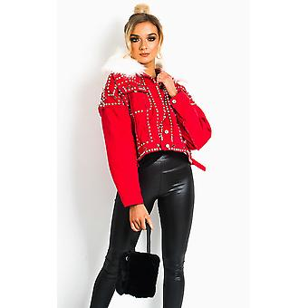 IKRUSH Womens Harvey Faux Fur Studded Embellished Denim Jacket