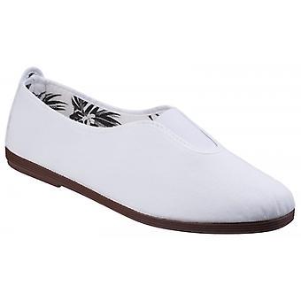 Flossy Califa Ladies Canvas Slip On Plimsolls White