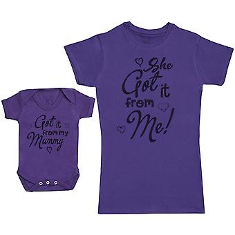 Got It From Mummy - Baby Gift Set with Baby Bodysuit & Mother's T-Shirt