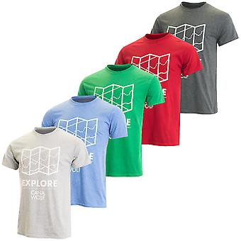 Cana Wolf Mens Comfort Taped Neck Durable Explore T Shirt