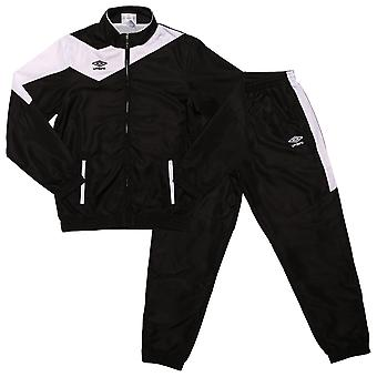 Junior Boys Umbro Division Lined Tracksuit In White Black - Jacket:- Zip