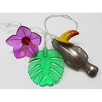 Lichterkette Tropical  multicolor, aus Kunststoff, mit 10 Lichtern, 2 m. Länge.