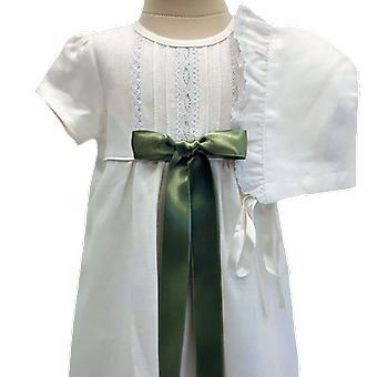 Abito battesimo Con Dophàtta, Manica corta, Rosette verde chiaro. Grazia Della Svezia