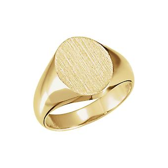 14k Gul Guld 10x12mm polerad Oval Signet Ring Storlek 6,5 smycken Gåvor för kvinnor - 4,6 gram