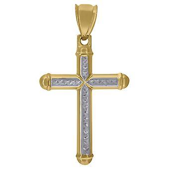 10k Gold Dc Férfi Cross Height 45mm X Szélesség 25.5mm Vallási Charm Medál Nyaklánc Nyaklánc Ajándékok férfiaknak